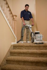 Chem-Dry tech cleaning carpet on stair landing