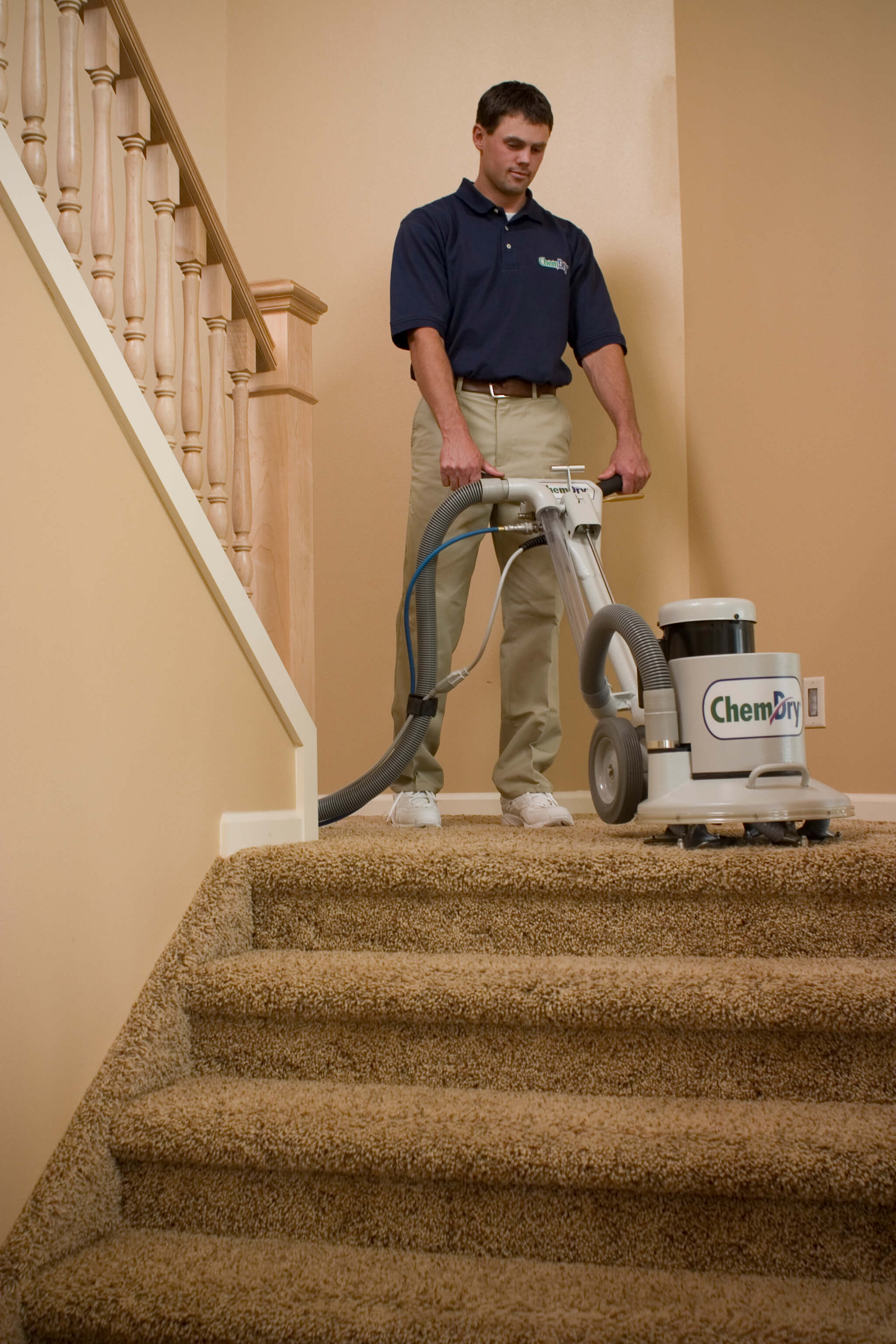 carpet cleaning stairs with chemdry tech